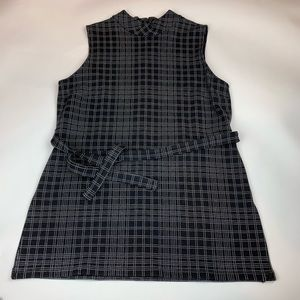 Theory Mock Neck Plaid Belted Stretch Tunic